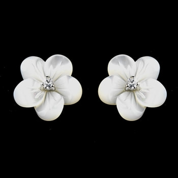 Charming Mother Of Pearl Flower Earrings W Clear Cubic Zirconia 1038