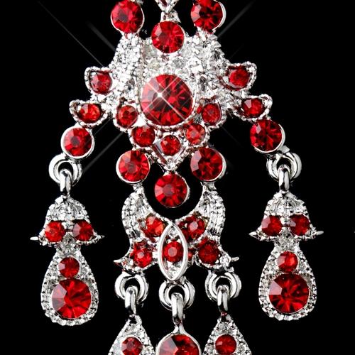 Antique Silver Red Rhinestone Chandelier Earrings 7595