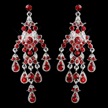 antique silver red rhinestone chandelier earrings 7595