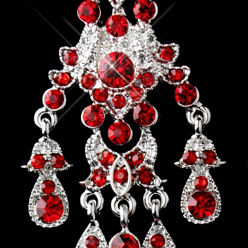 Red Givenchy Chandelier Earrings: Antique Silver Red Rhinestone Chandelier Earrings 7595