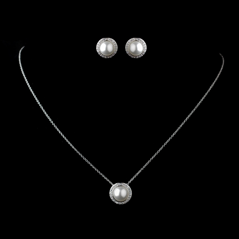 Solid 925 Sterling Silver Clear Rhinestone White Pearl Necklace 8821 Earrings Jewelry Set